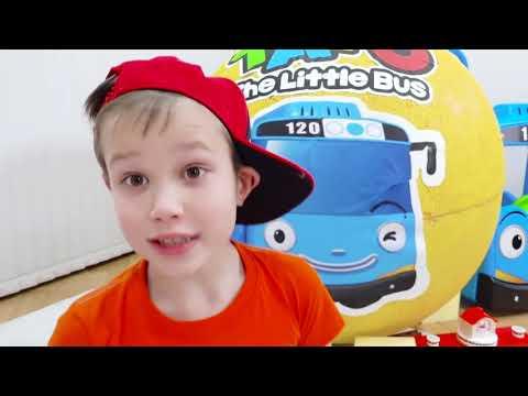 Дети играют в Игрушки Маши в гигантском яйце и Тайо в большом шаре