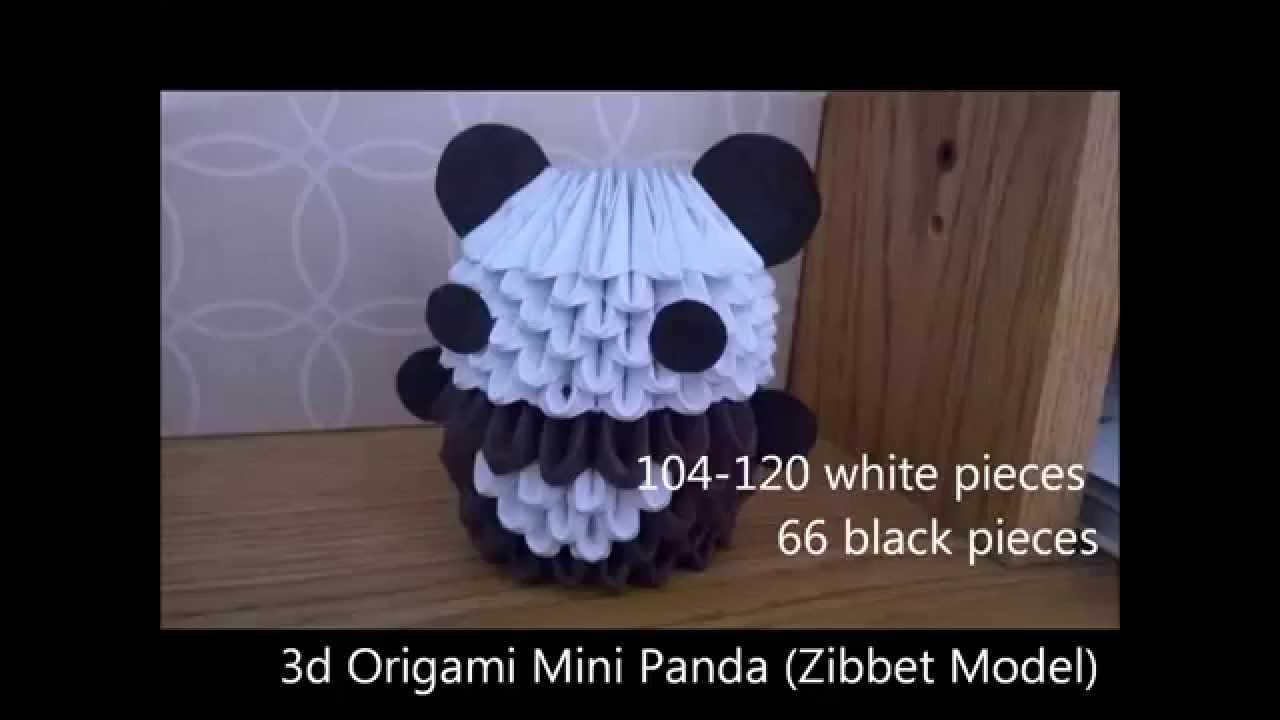 3d Origami Mini Panda Zibbet Model