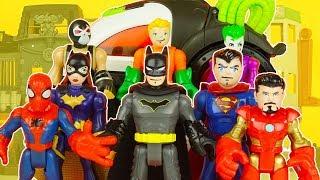 SPIDERMAN, IRON MAN, CAPTAIN AMERICA, BATMAN, AQUAMAN, BATGIRL & JOKER vs BANE superhero toys