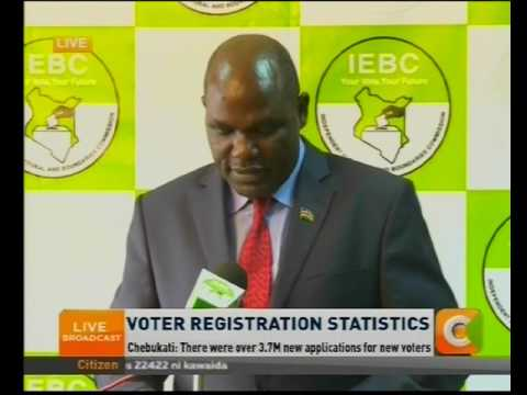 Chebukati : Voter Registration statistics