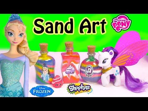 Disney Queen Elsa Frozen Stickers Sand Art Fun Craft Set Kit Shopkins My Little Pony Toy Unboxing