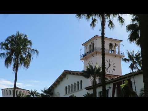 Sunken Gardens and Clock Tower - Santa Barbara Courthouse - California