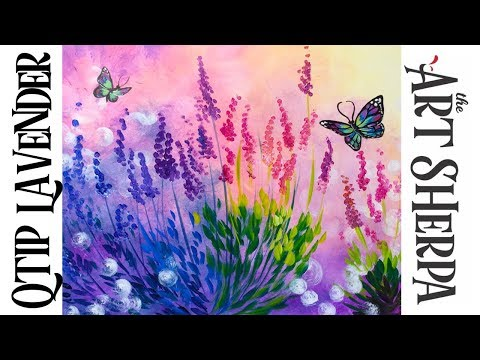 Easy Q-tip Painting Technique Lavender With Simple Butterfly | TheArtSherpa