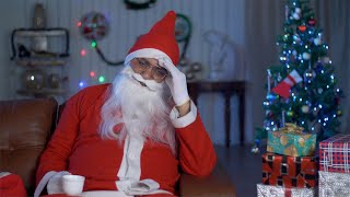 Sad and upset Santa Claus suffering from a severe headache on Christmas Eve in India