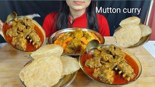 ASMR:Eating Chicken Briyani +Mutton Curry+Luchi/Puri*N-vlog*Eating Show *Eating Sound*MUKBENG