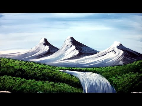 very easy mountain landscape painting in watercolour step by step for beginners