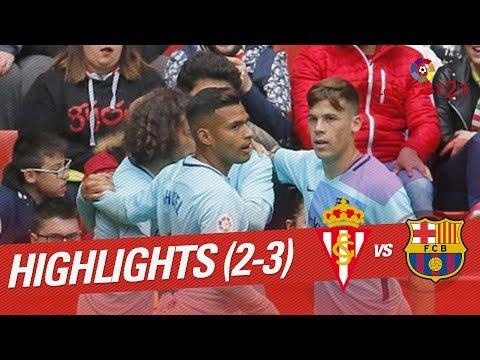 Resumen de Sporting de Gijón vs FC Barcelona B (2-3)