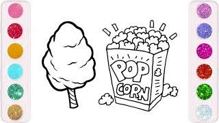 رسم وتلوين البوب كورن للاطفال/ لعبب ومرح / drawing & coloring popcorn and cotton candy for kids