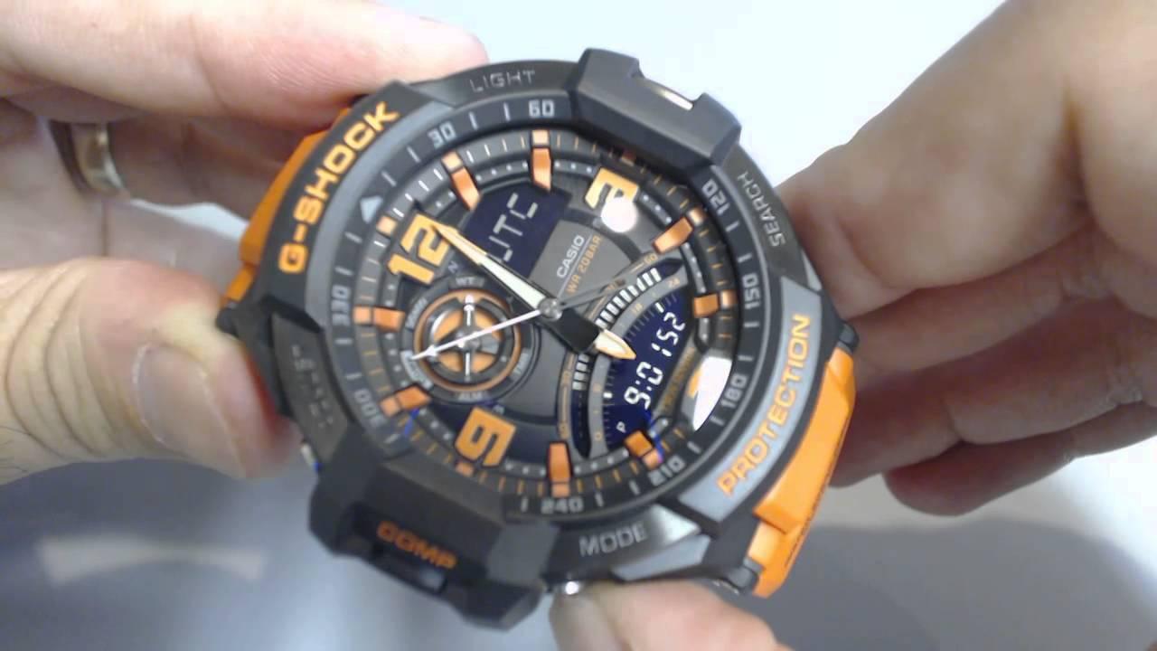 dbae15d538b Casio G-Shock G-Aviation Compass Aviator Watch GA1000-4A - YouTube