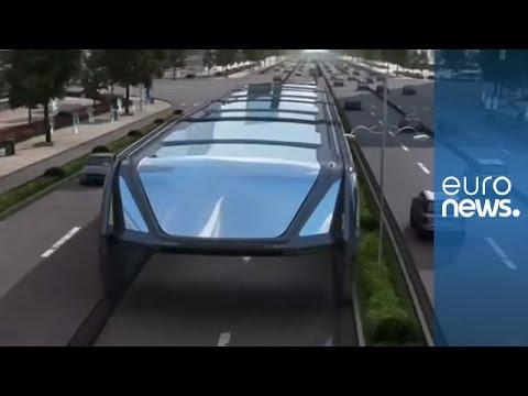 """No more traffic jams! New China """"bus-way"""" is part subway part bus..."""