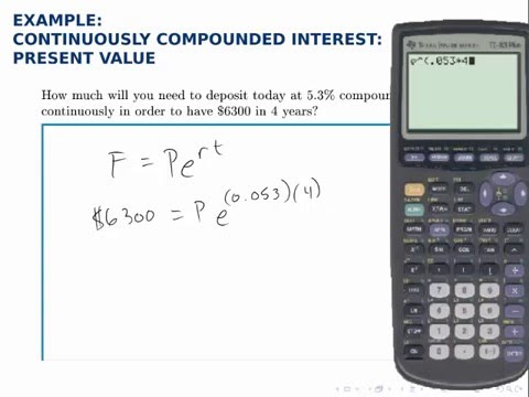 Finance Example Present Value With Continuous Compound