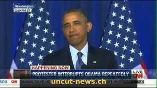 Obama bei Rede konfrontiert wegen Drohnen-Terror und töten von Muslimen!