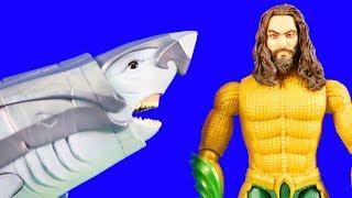 Aquaman Vs Orm & Black Manta + Warrior Shark ! Superhero Toys