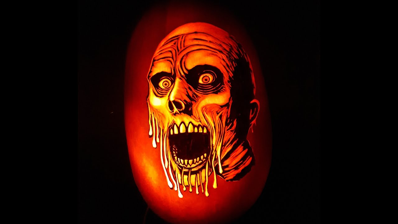 Pumpkin carving time lapse - My face is melting
