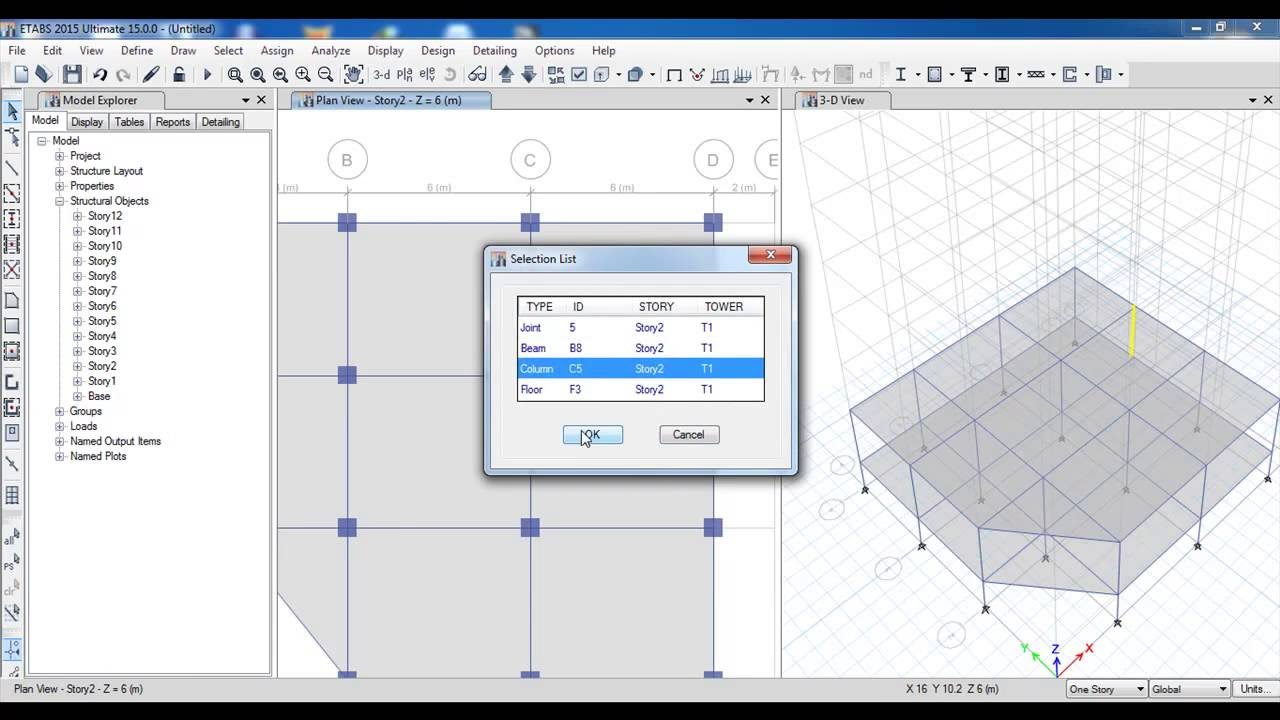 Etabs 3d Reinforced Concrete Building With Shear Wall Part 2 Civil Engineering Youtube