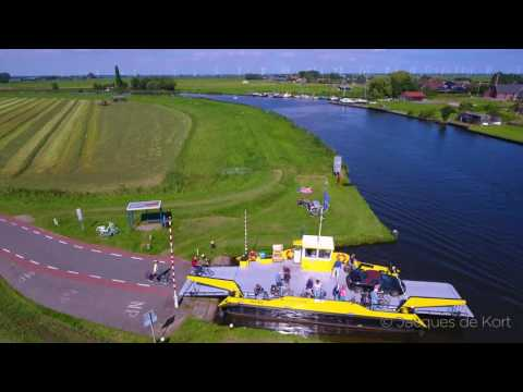 4k Drone video of a cable ferry crossing De Eem River