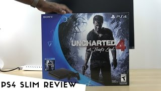 PS4 Slim Uncharted 4 Bundle Unboxing & Review!!!(The Sony PlayStation 4 Slim Uncharted 4 Bundle features a system that is smaller, lighter, and more energy efficient than the original PS4. Despite its smaller ..., 2016-09-16T21:39:10.000Z)
