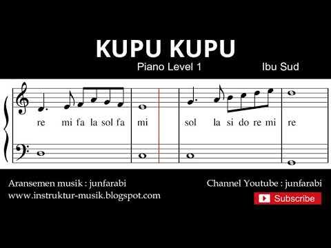 Not Balok Kupu Kupu - Tutorial Piano Grade 1 - Notasi Lagu Anak - Doremi Solmisasi
