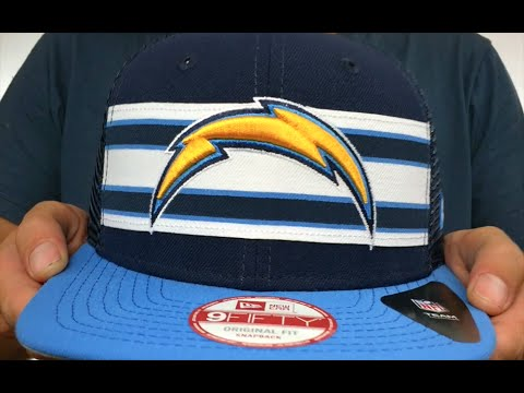 4525f4acdf494 Chargers  THROWBACK-STRIPE SNAPBACK  Navy-Sky Hat by New Era - YouTube