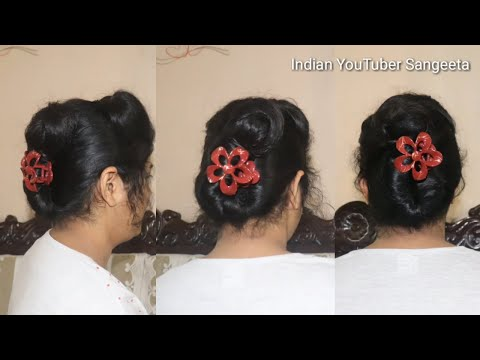 french roll hairstyle with puff || french twist hairstyle || easy juda hairstyle by Sangeeta thumbnail