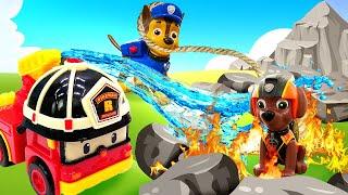 Видео про игрушки из мультфильма Щенячий патруль. Робокар Рой тушит пожар и спасает Зуму!