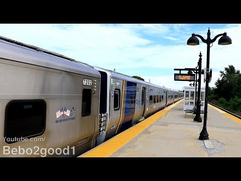 LIRR M7 / M9 Sandwich Clearance Test Train at St. Albans, NY RR