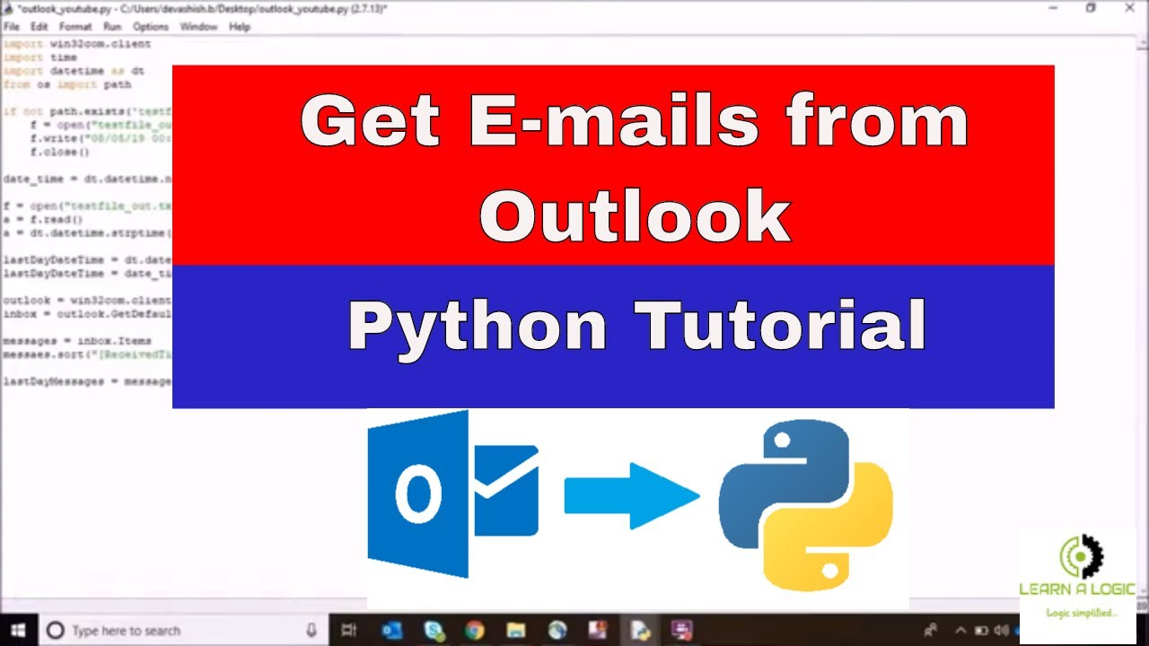 How to fetch outlook data by python | Getting outlook application data
