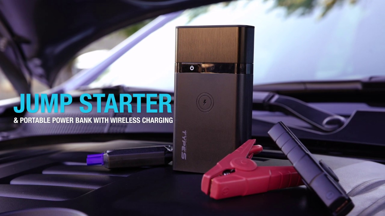 Type S Lithium Jump Starter & Portable Power Bank with Built-in Wireless  Charging