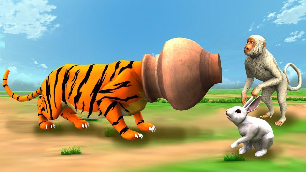 चतुर बंदर मूर्ख बाघ जादुई मटका Clever Monkey Foolish Tiger Magical Pot Hindi Kahaniya हिंदी कहनिया