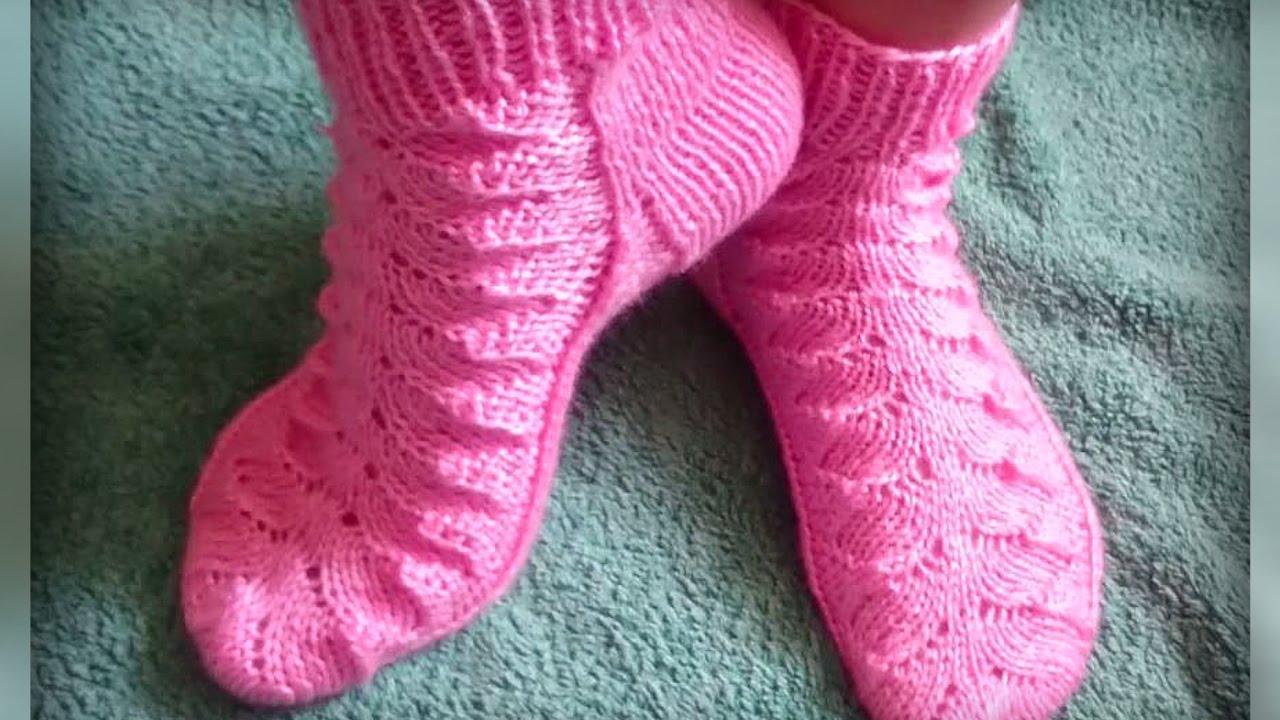 женские носки рисунком вязание спицами Youtube