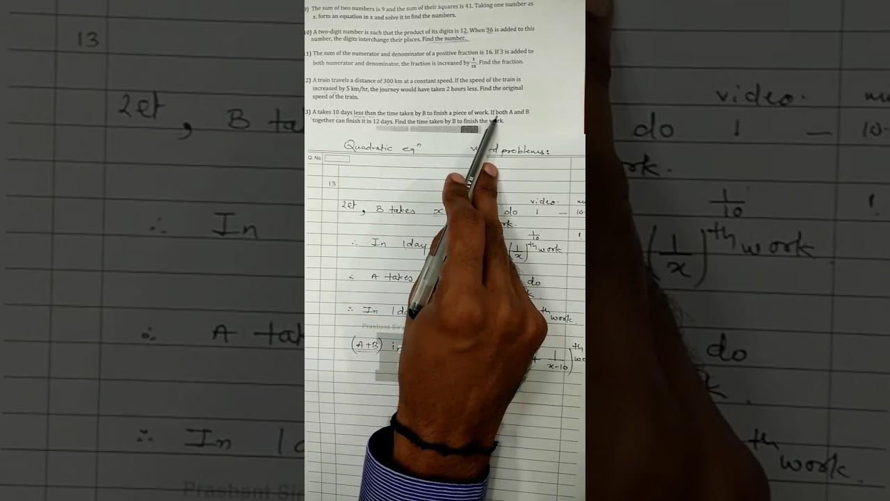Quadratic Equation Word Problems Class 10 Cbse