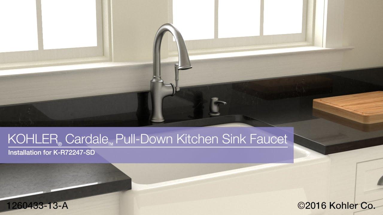 Kohler Kitchen Sink Faucets Tile Backsplash Installation Cardale Pull Down Faucet Youtube