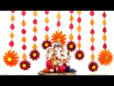 Ganesh chaturthi decoration at home / गणेश चतुर्थी डेकोरेशन / गणपती डेकोरेशन - paper flower decorate from YouTube · Duration:  16 minutes 5 seconds