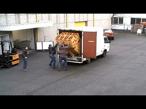 LiveLeak - Workers Drop Cases of Beer from Truck