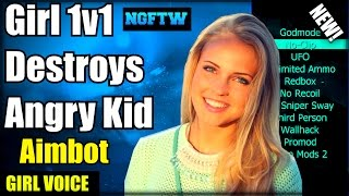 Black Ops 2 Angry Kid Gets DESTROYED By Girl With UNFAIR AIMBOT! (Girl Voice Trolling) 1v1 Aimbot!