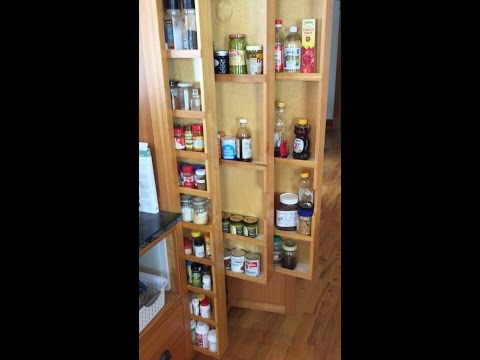 Hidden Pull-Out Spice Racks - Custom Vertical Drawers Kitchen Cabinets