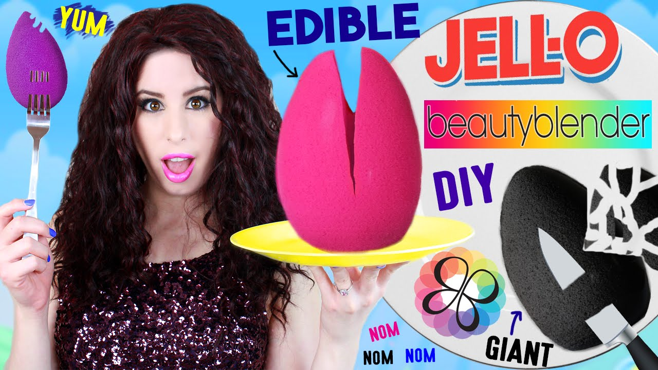 DIY EDIBLE Jello Beauty Blender | EAT A GIANT Jello ...