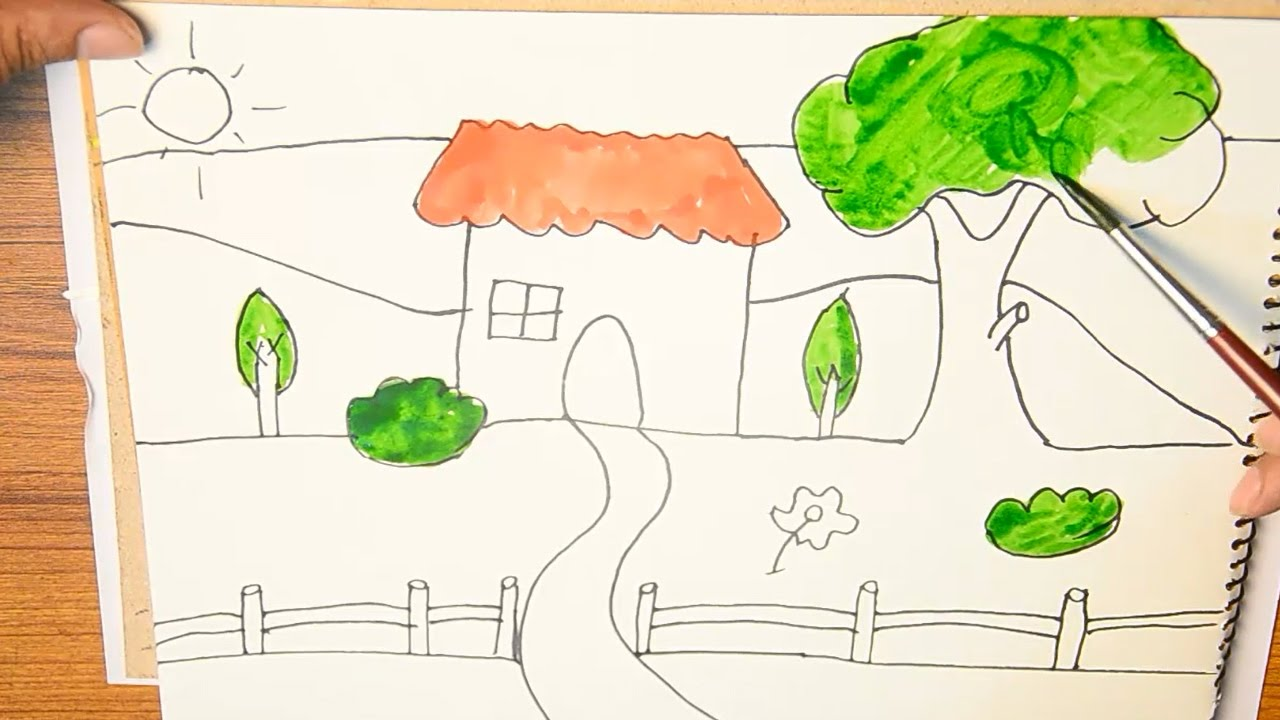 Garden drawing pictures - How To Draw And Paint A House With Garden In Front Of It And River Behind It For Kids