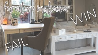 DIY FAIL  || FURNITURE MAKEOVER || REFINISHED SOFA TABLE & DESK
