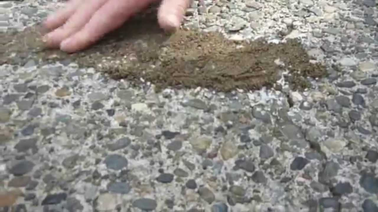 HOW TO: Apply U0026 Match Crack Filler To Exposed Aggregate Driveway   YouTube