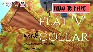 v neck How to make flat V collar sewing [ How to Sew a V Neckline ]