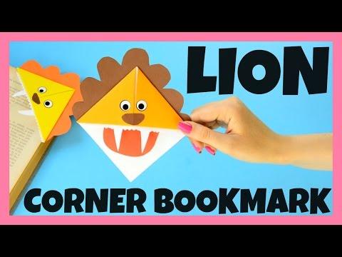 DIY Lion Corner Bookmarks - easy origami corner bookmark idea