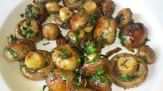 MANTARIN TADINA VARACAKSINIZ SARIMSAKLI BÜTÜN MANTAR | Garlic mushroom recipe