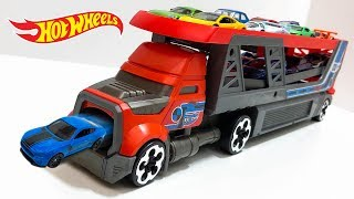 Hot Wheels Blastin' Rig Semi Truck Unboxing And Launching Cars!
