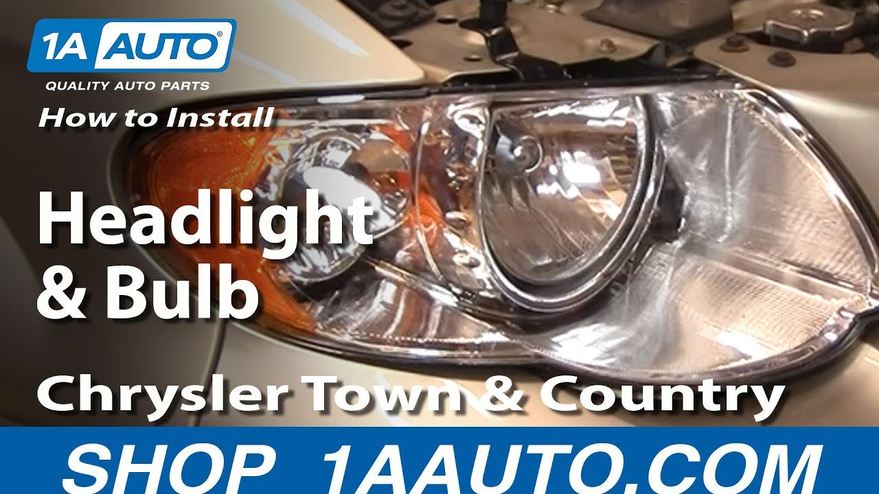 how to install replace headlight and bulb chrysler town and country 05 07 1aauto com youtube [ 1920 x 1080 Pixel ]