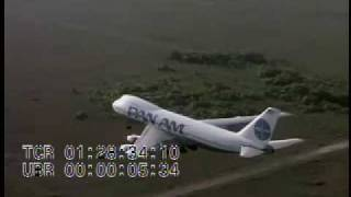 Stock Footage - Air-to-air Pan Am jet landing on runway, taking off