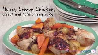 Honey Lemon Chicken, Carrot And Potato Tray Bake