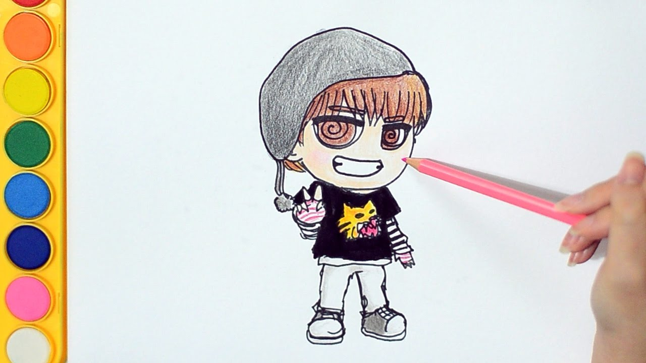 Learning How To Draw And Colour Chibi Bts 방탄소년단 V 뷔 Spring