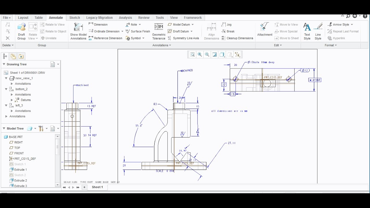 Adding Surface Finish Symbol Note In Creo Parametric Youtube