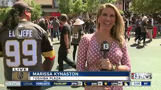 Vegas Golden Knights fans outside T-Mobile Arena before Game 1 of Stanley Cup Final